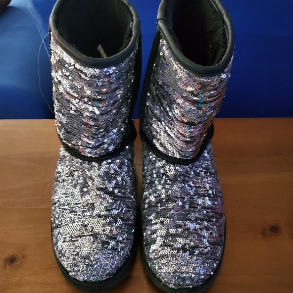 Silver Sequin Boots Faux Fur Lined